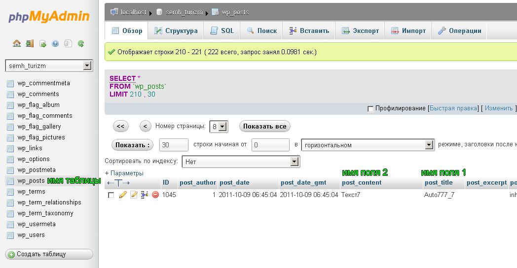 MySQL таблица